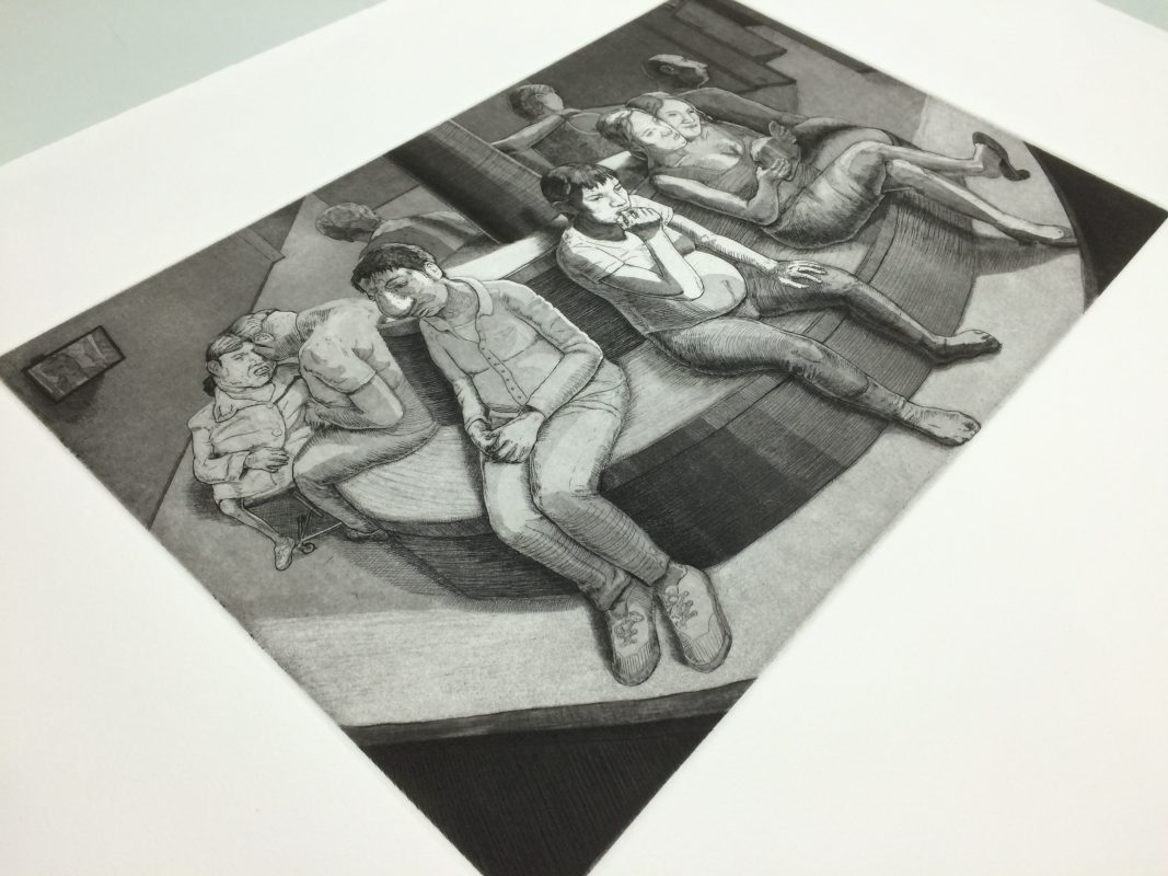 Artist: Tyler Bright Hilton - From the etching series Minmei Madelynne Pryor on the Trail of a Liar